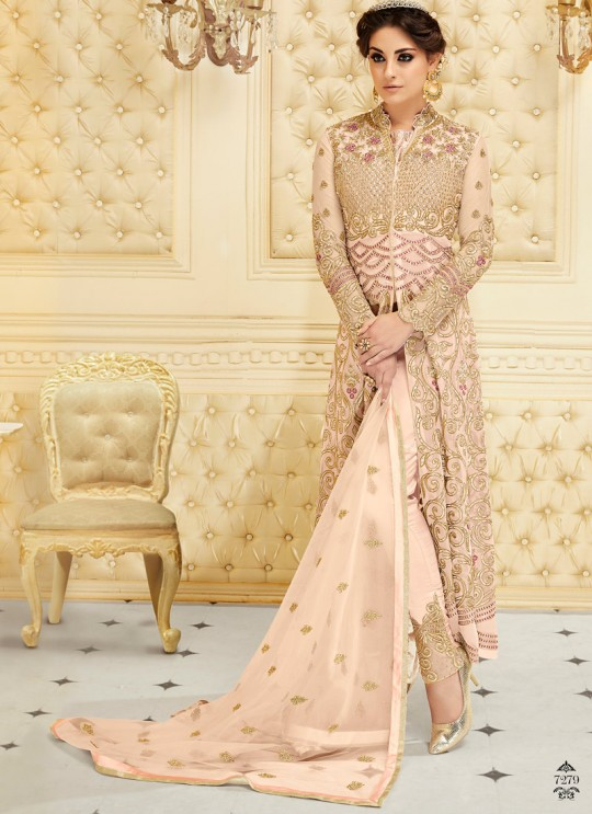 Peach Net Floor Length Anarkali SAPPHIRA Vol-2 7279 By Glossy