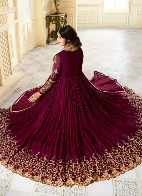 Magenta Georgette Floor Length Anarkali AYESHA SIMAR 9014 By Glossy