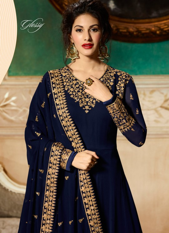 Blue Georgette Floor Length Anarkali AMYRA 9081 By Glossy Full Set