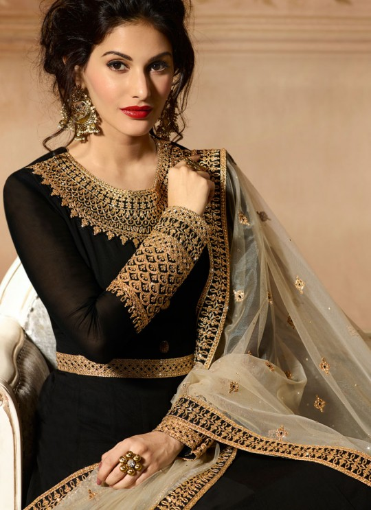 Black Georgette Floor Length Anarkali AMYRA 9081 By Glossy Full Set