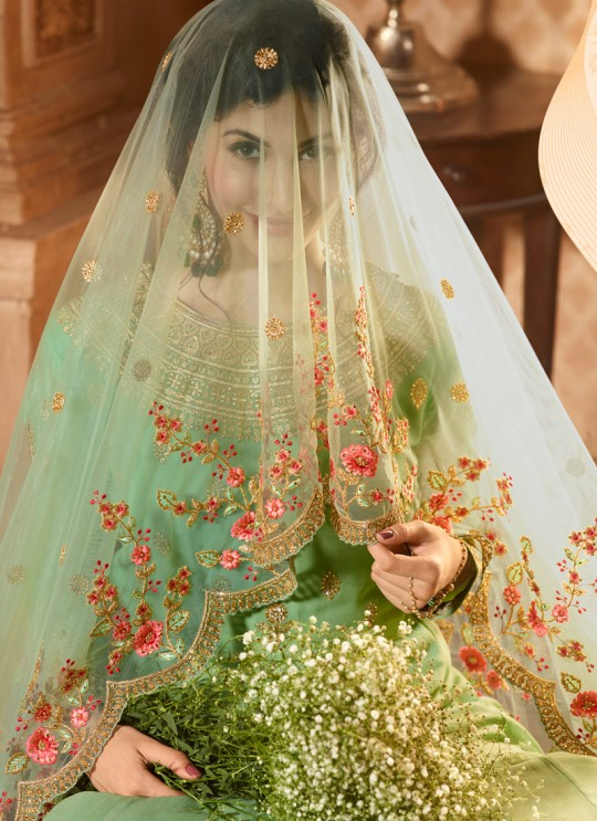 Green Georgette Floor Length Anarkali AMYRA 9088 By Glossy