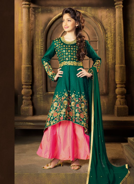 Green Silk Wedding Wear Floor Length Anarkali Daughter 8191 By Karma Trendz