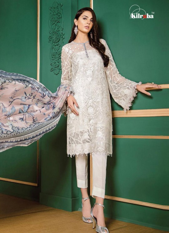 White Georgette Embroidered Pakistani Suit Jannat White Luxury Collection 1001 By Kilruba