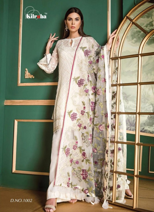 White Georgette Embroidered Pakistani Suit Jannat White Luxury Collection 1002 By Kilruba