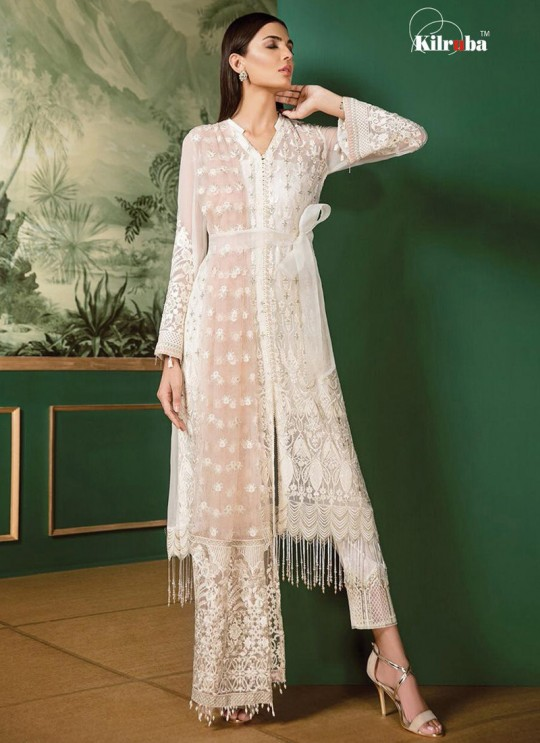 White Georgette Embroidered Pakistani Suit Jannat White Luxury Collection 1004 By Kilruba