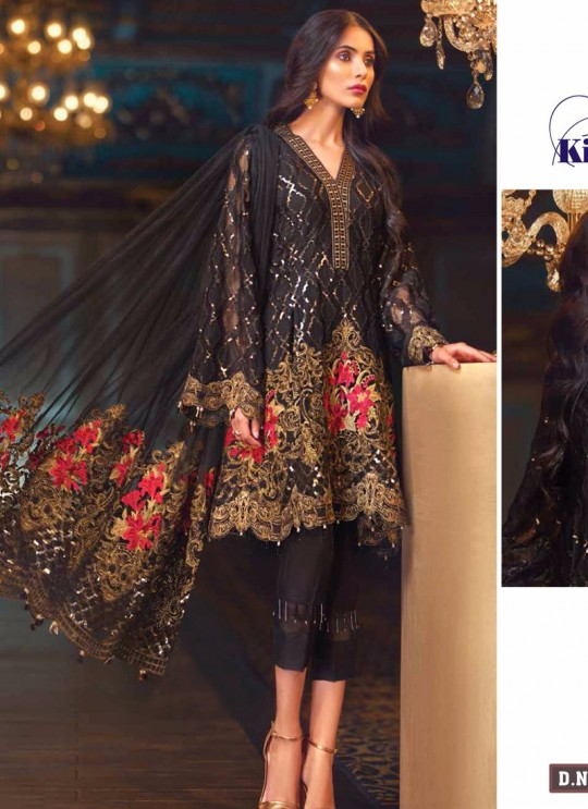Black Georgette Embroidered Pakistani Suit Jazmin-01A By Kilruba