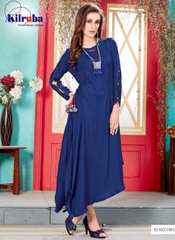 Buy Online Navy Blue Rayon Cotton Printed Gown ANUSHKA-1001 Navy By ... 7cc3b2625