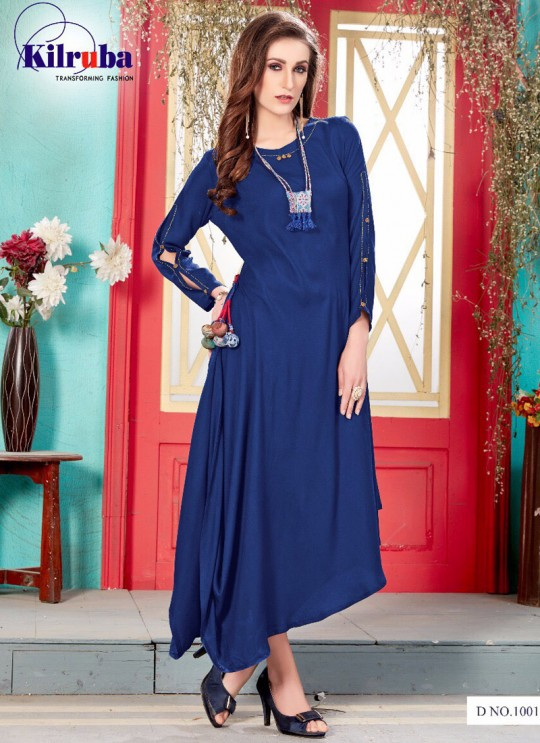 Navy Blue Rayon Cotton Printed Gown ANUSHKA-1001 Navy By Kilruba