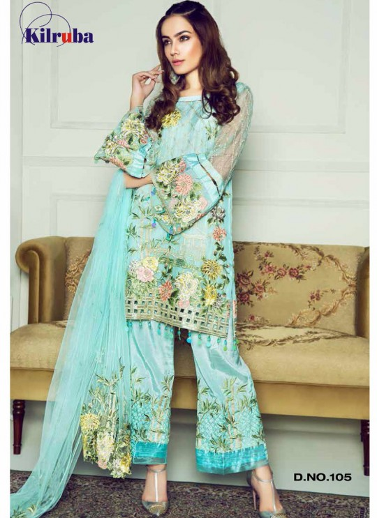 Turquoise Georgette Embroidered Pakistani Suit ORIENT-105 By Kilruba