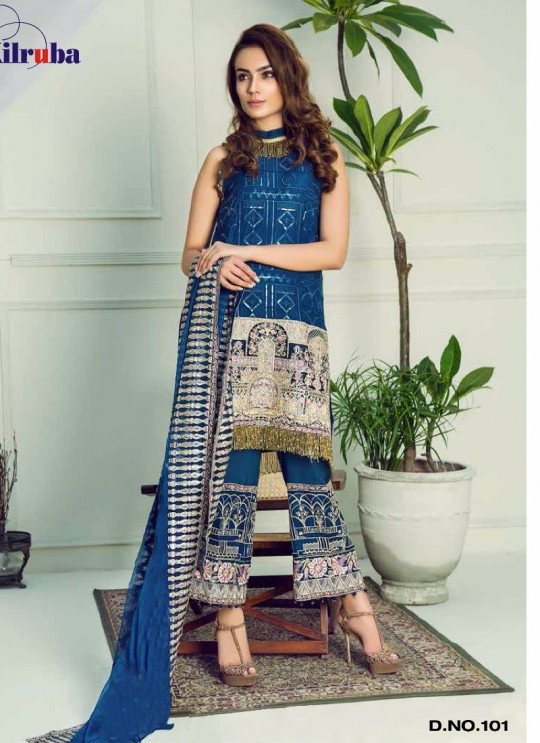 Blue Georgette Embroidered Pakistani Suit ORIENT-101 By Kilruba