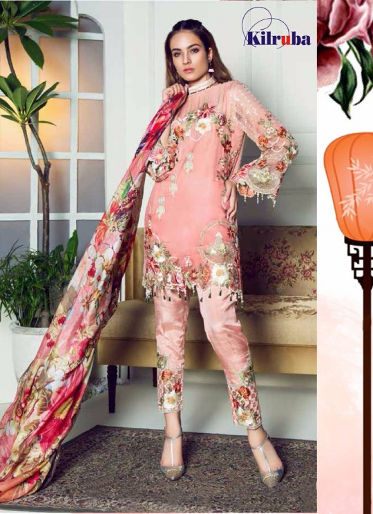 Peach Georgette Embroidered Pakistani Suit ORIENT-104 By Kilruba