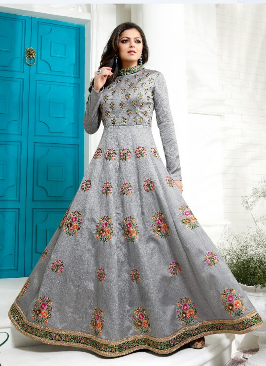 Grey Art Silk Anarkali Suit Nitya Vol 100 1008 By Lt Fabrics
