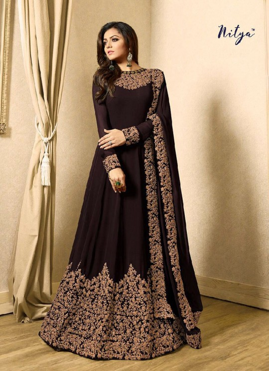 Brown Georgette Gown Style Anarkali Nitya Vol 117 1701c Brown By Lt Fabrics