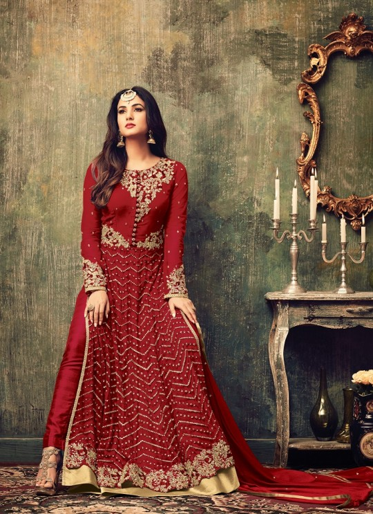 Red Net Pakistani Salwar Kameez Azara 4707B Color By Maisha