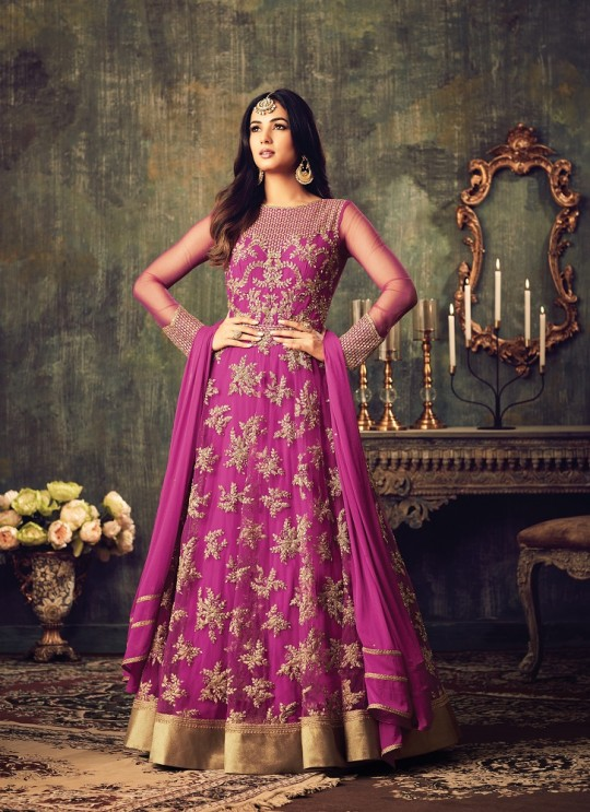 Magenta Net Floor Length Anarkali Azara 4702 By Maisha
