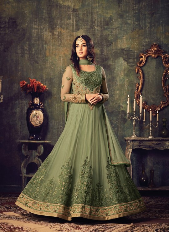 Green Net Floor Length Anarkali Azara 4703 By Maisha