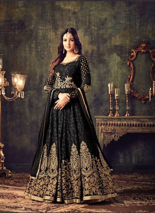 Black Georgette Floor Length Anarkali Azara 4705B Color By Maisha