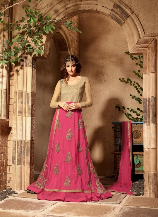 Pink Georgette Floor Length Anarkali Infinity 3108 By Maisha