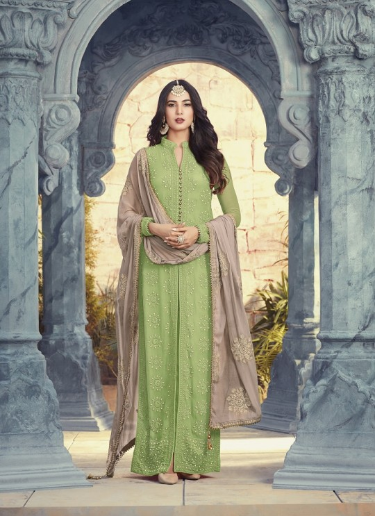 Green Georgette Pakistani Salwar Kameez Pearl 5506A Color By Maisha