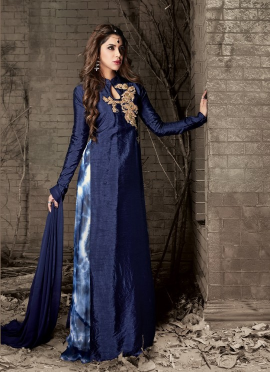 Blue Banarsi Silk Gown Style Anarkali Quinn-2 5402 By Maisha