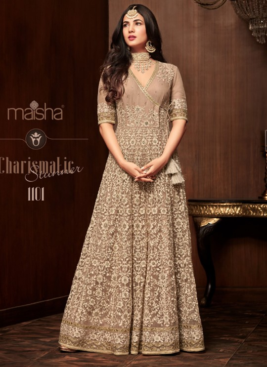 Light Brown Net Floor Length Anarkali Keira 1101 By Maisha