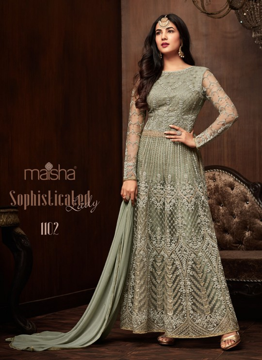Green Net Floor Length Anarkali Keira 1102 By Maisha