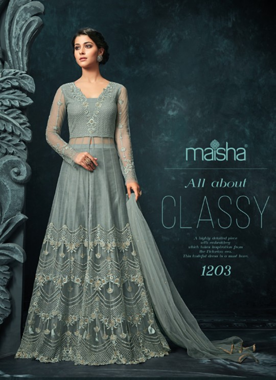 Grey Net Floor Length Anarkali Hugs 1203 By Maisha