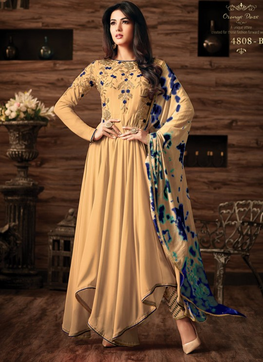 Gold Georgette Gown Style Anarkali Quinn 4808B Color By Maisha