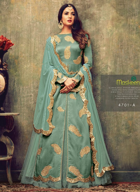 Green Net Pakistani Salwar Kameez Azara 4701A Color By Maisha