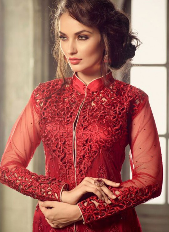 Maroon Net Pant Style Suit GLAMOUR VOL 31 31001 By Mohini Fashion