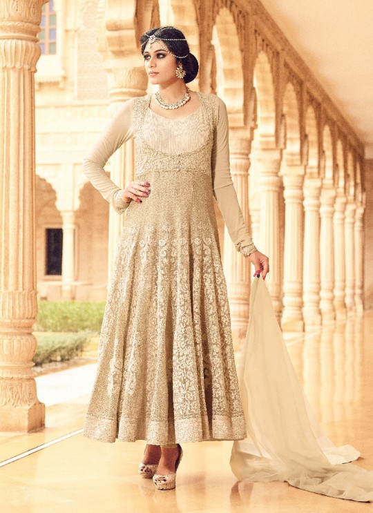 Beige Net Anarkali Suit GLAMOUR VOL 35 35005 By Mohini Fashion