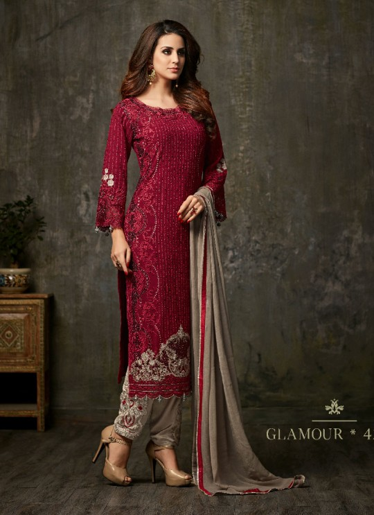 Maroon Georgette Pant Style Suit GLAMOUR VOL 42 42001 By Mohini Fashion