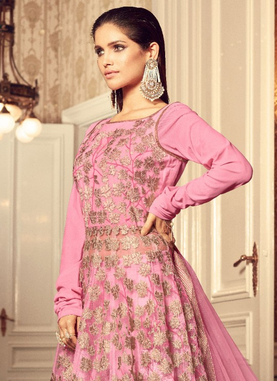 Pink Net Gown Style Anarkali GLAMOUR VOL 43 43004 By Mohini Fashion