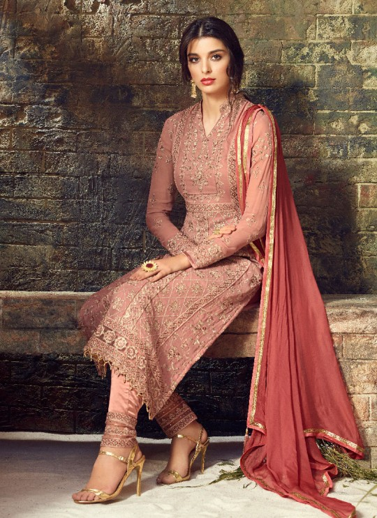 Pink Georgette Straight Suit GLAMOUR VOL 53 53004 By Mohini Fashion