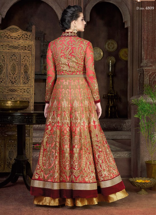Red N Gold Net Anarkali Suit  4809 By Swagat NX