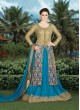 Blue, Gold Net, Art Silk Designer Salwar Suit  4901B By Swagat NX