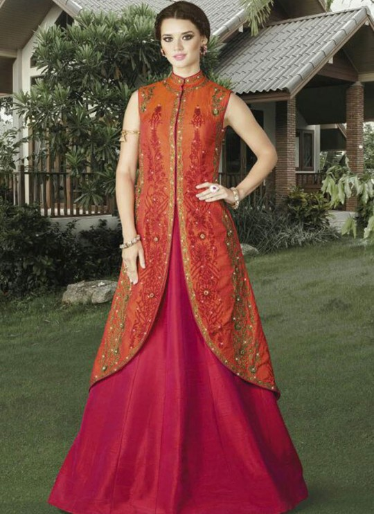 Orange Art Silk jacket Style Suit  4907 By Swagat NX