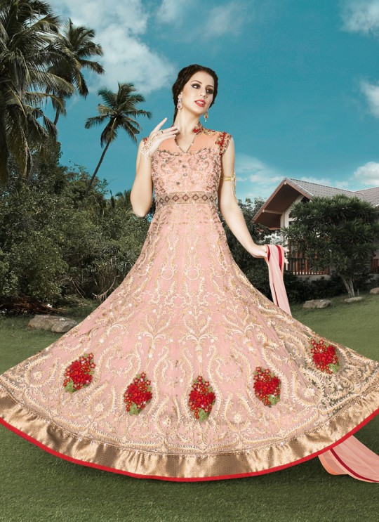 Pink Net Floor Length Anarkali Suit  4908A By Swagat NX
