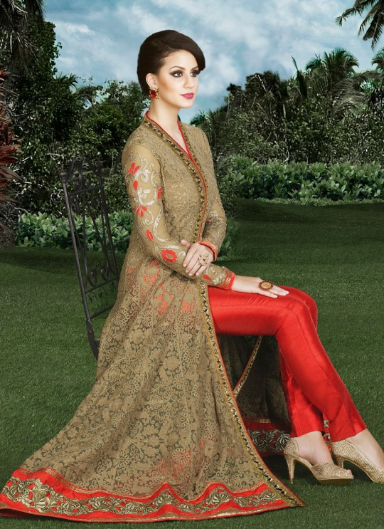Beige, Red Silk Pant Style Suit  4910 By Swagat NX