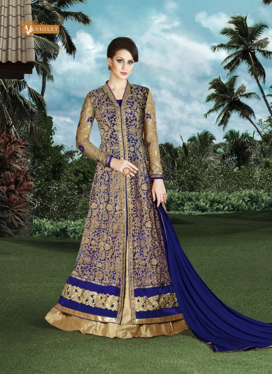 Beige, Blue Silk Pant Style Suit  4910B By Swagat NX