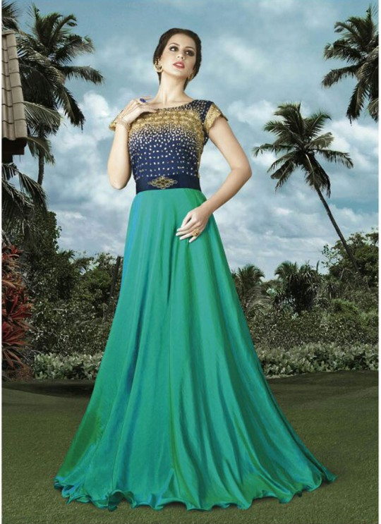 Green, Blue Art Silk Gown Style Suit  4911 By Swagat NX