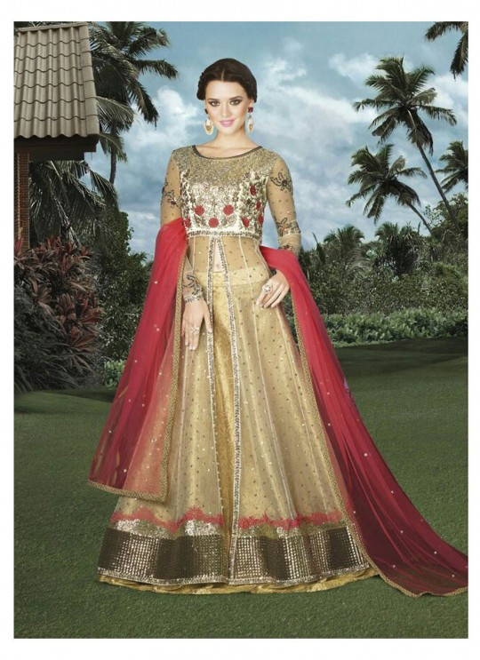 Gold Net Skirt Kameez  4912 By Swagat NX
