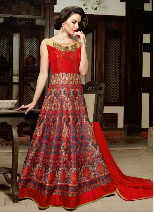 Multicolor Art Silk Gown Style Anarkali  5001 By Swagat NX