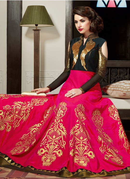 Pink Art Silk Floor Length Anarkali Suit  5007 By Swagat NX