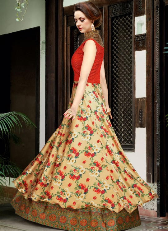 Beige Satin Gown Style Anarkali  5008 By Swagat NX