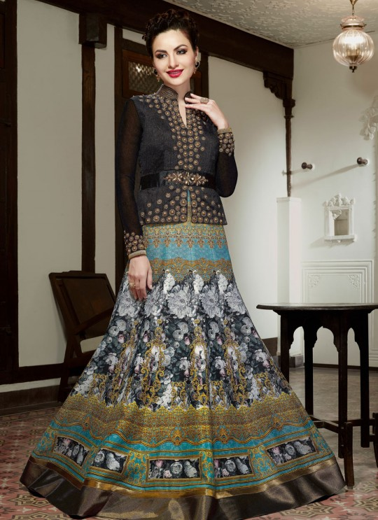 Multicolor Art Silk Floor Length Anarkali With Jacket  5012 By Swagat NX