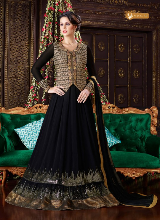 Black Georgette Anarkali Suit With Jacket  5101 By Swagat NX