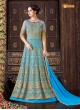 Turquoise Net Floor Length Anarkali  5102 By Swagat NX