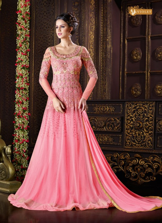 Pink Net Gown Style Anarkali  5103 By Swagat NX