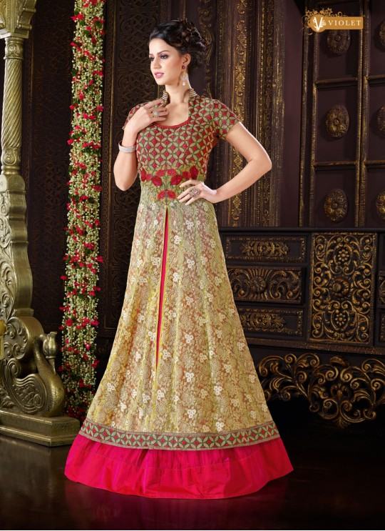 Gold, Pink Net Floor Length Anarkali  5105 By Swagat NX